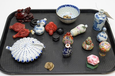 Lot 329 - Various snuff bottles; patch box; Chinese teapot; etc.