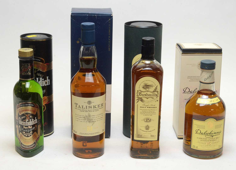 Lot 1 - Dalwhinnie, Talisker, Bushmills and Glenfiddich Whisky.