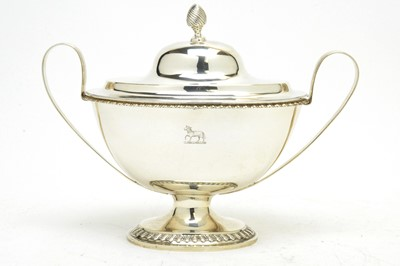 Lot 141 - A late Victorian silver two-handled tureen.
