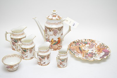 Lot 407 - Royal Crown Derby coffee pot and cover; three matching jugs and other items.