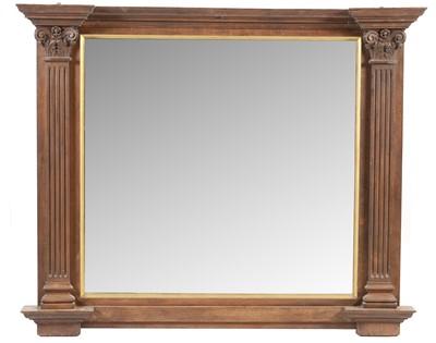 Lot 780 - Early 20th Century oak framed overmantel mirror