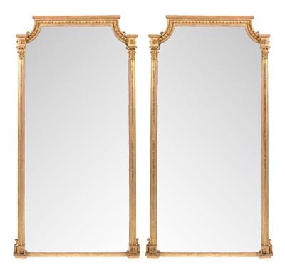 Lot 781 - Pair of 20th century gilt framed pier mirrors