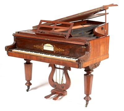 Lot 818 - John Broadwood & Sons, London - A 19th Century mahogany imported semi-grand piano