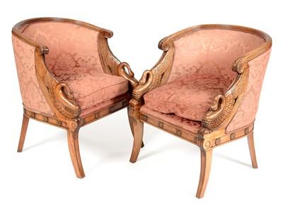 Lot 864 - Pair of 20th Century mahogany tub chairs