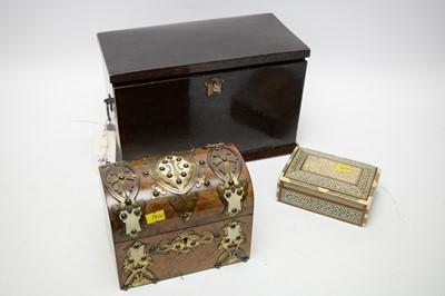 Lot 442 - 20th C writing box; 19th C tea caddy; and a Persian box.