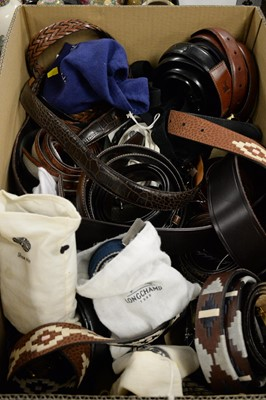 Lot 457 - Large selection of gent's belts; and a Piette Cardin hat.