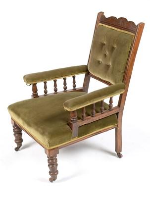 Lot 873 - Victorian mahogany easy armchair
