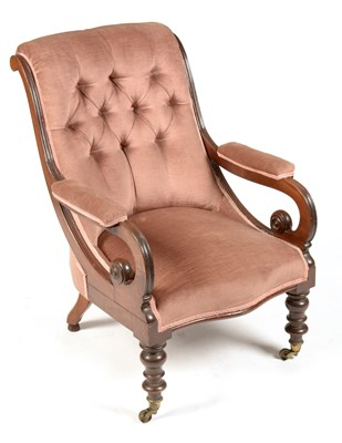 Lot 874 - A Victorian mahogany and upholstered open armchair.