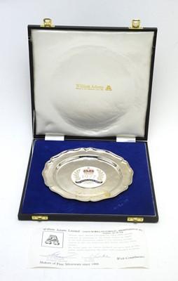 Lot 185 - An Elizabeth II Silver Jubilee enamelled silver waiter