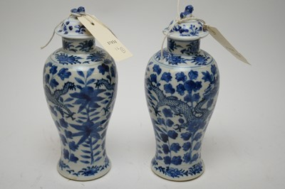 Lot 420 - Pair of late 19th C Chinese blue and white vases.
