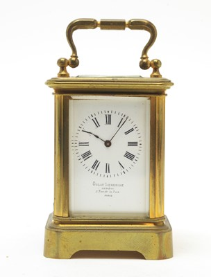 Lot 767 - Early 20th C French miniature carriage clock.