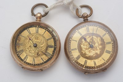Lot 152 - Two gold fob watches