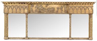 Lot 774 - 19th Century gilt overmantel triptych mirror