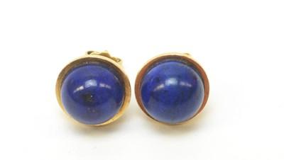 Lot 6 - A pair of lapis lazuli stud earrings.