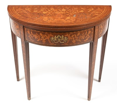 Lot 822 - Early 19th Century Dutch marquetry demi lune card table