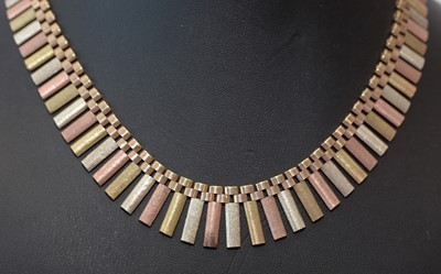 Lot 178 - 9ct yellow, white and rose gold fringe necklace