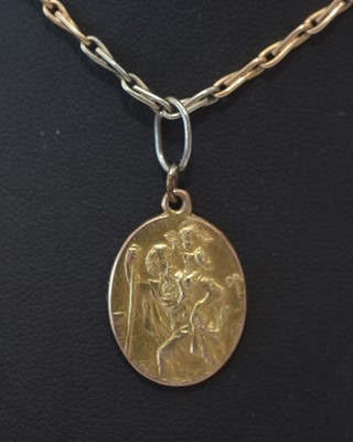 Lot 180 - Gold chain and St Christopher medal