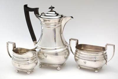 Lot 195 - Silver matching hot water jug, milk jug and two-handled sugar bowl
