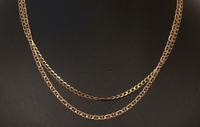 Lot 153 - Two 9ct yellow gold chain necklaces