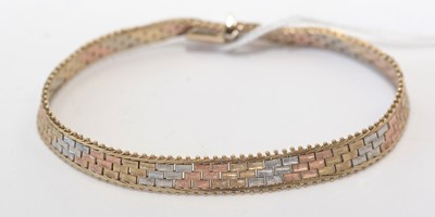 Lot 160 - 9ct yellow, white and rose gold bracelet