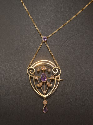 Lot 161 - Edwardian amethyst and seed pearl pendant