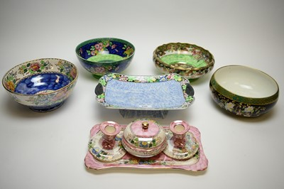 Lot 230 - Maling Lustreware including bows, cake dish and dressing table set