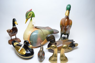 Lot 247 - Qty. of Oriental carved wood bird ornaments; and enamelled items.