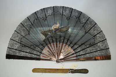 Lot 383 - Continental black silk fan; and a letter opener.