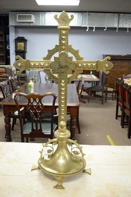 Lot 454A - A brass crucifix