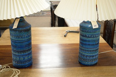 Lot 456 - A pair of Italian mid-Century cylindrical earthenware vases