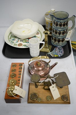 Lot 424 - Set of brass postal scales and weights; Wedgwood and other items.
