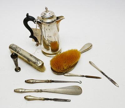 Lot 196A - Early 20th C silver hot water jug; and various other dressing table items.