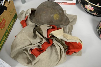 Lot 406 - English stitch Royal Ensign Flag; and an ARP Warden's helmet.