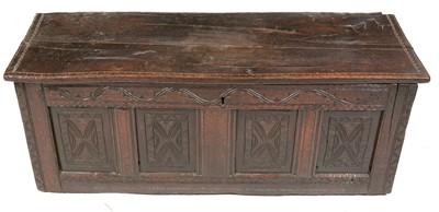 Lot 843 - 17th Century oak coffer