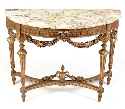 Lot 829 - Regency style marble topped console table