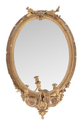 Lot 785 - 19th Century gesso gilt girandole mirror