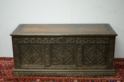 Lot 50 - An 18th Century and later oak blanket box
