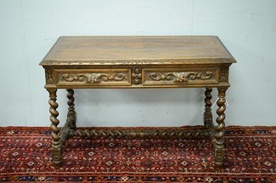 Lot 46 - Victorian oak writing desk.
