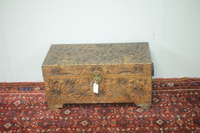 Lot 86 - Early 20th C Chinese camphor wood chest.
