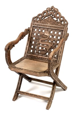 Lot 890 - 20th Century carved Japanese folding chair