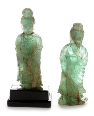 Lot 387 - Two Chinese green quartz figures of Guanyin