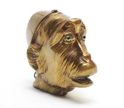 Lot 204 - Victorian brass Monkey pattern vesta case