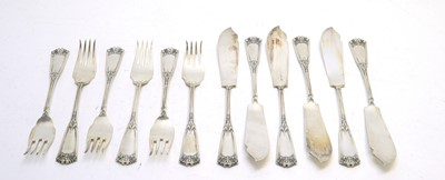 Lot 194 - Set of six early 20th C German fish knives and forks.