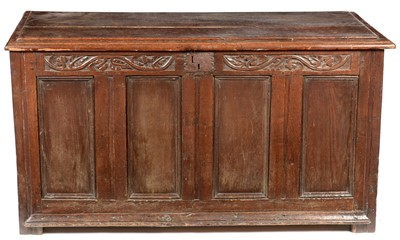 Lot 892 - An oak coffer with 18th C elements.