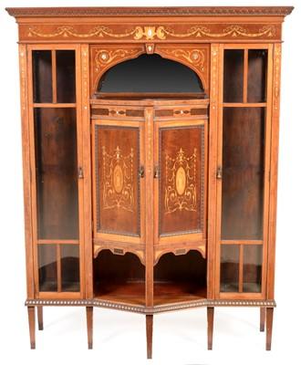 Lot 888 - Edwardian mahogany and inlaid display cabinet.
