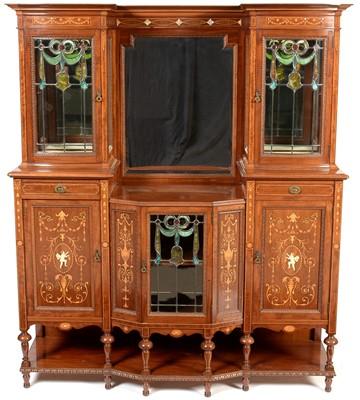 Lot 889 - Edwardian mahogany and inlaid display cabinet.
