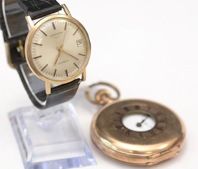Lot 240 - Longines wristwatch; and a half hunter pocket watch.