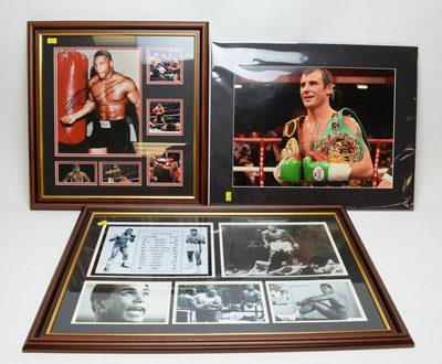 Lot 1272 - Boxing: Signed photographs of Muhammad Ali, Mike Tyson and Joe Calzaghe, with additional reproduction photographs.