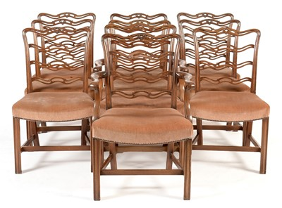 Lot 912 - Set of ten George III style mahogany ladderback dining chairs