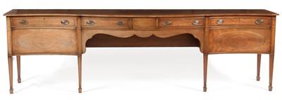 Lot 913 - Sheraton style mahogany serpentine sideboard